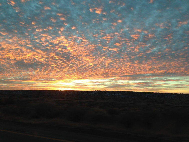 A beautiful sunrise entering Arizona.